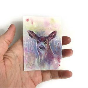 ACEO Original Painting deer wildlife From artist